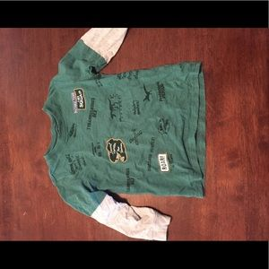 Dinosaur green shirt with gray sleeves